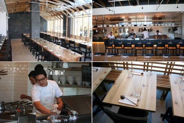 The open restaurant features a minimal design with communal tables (clockwise from top left), an open kitchen and individual tables. Chef Jonah Kim (bottom left) work in the kitchen. (Photos: Mark Heckathorn/DC on Heels)
