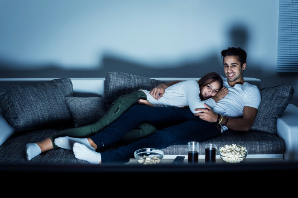 Snuggle up on the couch and refuse to get up. (Photo:  Thinkstock)