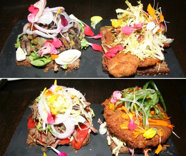 Ambar's open-face sandwiches include the wild forest mushroom and Vienna schnitzel (top), and artisan mixed meats and crispy cheese (bottom). (Photos: Mark Heckathorn/DC on Heels)