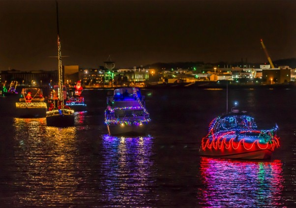 The annual Parade of Lights with 60 decorated boats will sail from Old Town to the southwest waterfront Saturday evening. (Photo; R. Kennedy/Arlington County Visitors Associations)
