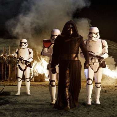 Kylo Ren (Adam Driver) with Stormtroopers in Star Wars: The Force Awakens. (Photo: David James/Lucasfilm)