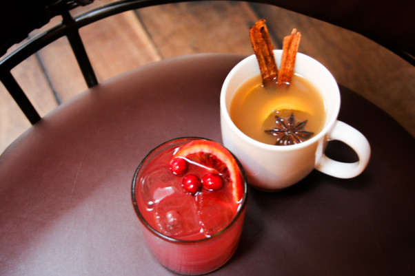 Blood orange margarita (left) and tequila cider from Rosa Mexicano's Christmas Day menu. (Photo: Rosa Mexicano)