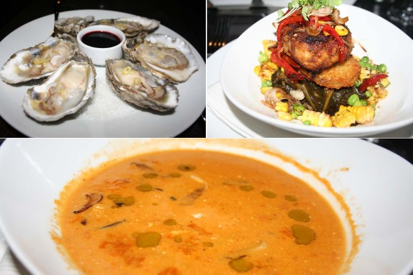 Appetizers include the Barren Island oysters on the half shell (clockwise from top left), the Maryland crab cake and the Chesapeake Bay crab bisque. (Photos: Mark Heckathorn/DC on Heels)