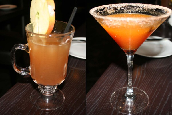 Fall cocktails include the rum cider (left) and the pumpkin spiced martini. (Photos: Mark Heckathorn/DC on Heels)