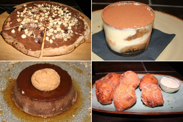 Lena's desserts include the disappointing Nutella pizza (clockwise from top left), tiramisu, house-made apple donuts and bunet. (Photos: Mark Heckathorn/DC on Heels)