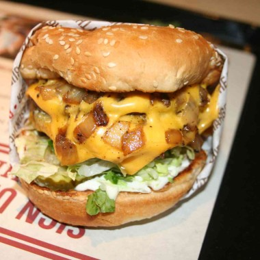 Double charburger with cheese. (Photo: Mark Heckathorn/DC on Heels)