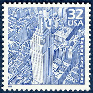A stamp of the Empire State Building. (Photo: National Postal Museum)