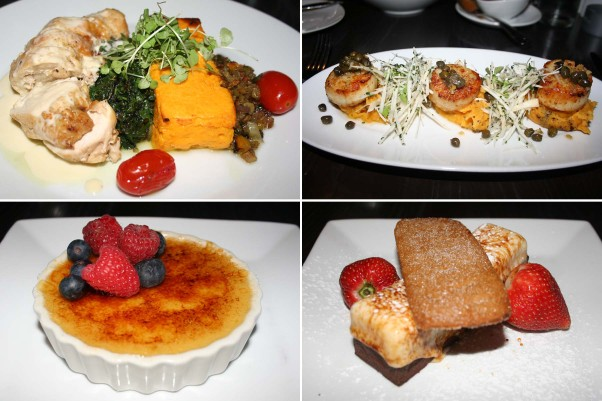 Entrees included chicken Chesapeake roulade (clockwise from top left) and diver sea scallops, while dessert was toasted s'more and butterscotch crème brule. (Photos: Mark Heckathorn/DC on Heels)