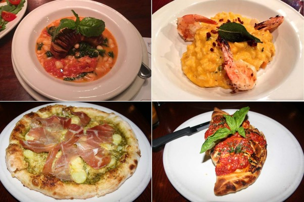 New dishes on the seasonal menu includes Tuscan-style beans with spinach, garlic, tomatoes, and grilled Italian sausage (clockwise from top left), butternut squash risotto with grilled shrimp and pancetta, a butternut squash and chicken calzone and the tasty genovese pizza with pesto, parmesan, fingerling potatoes and prosciutto. (Photos: Mark Heckathorn/DC on Heels)