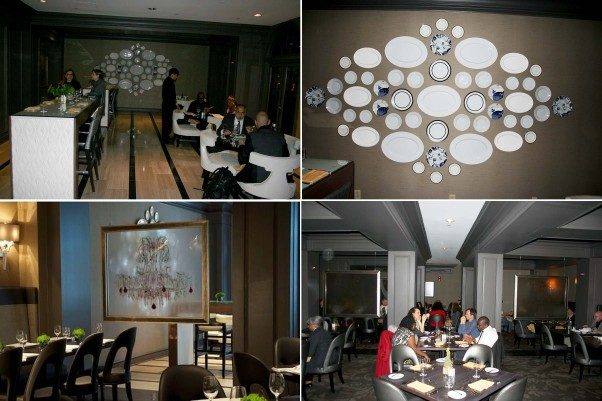 Jardenea's lobby lounge (clockwise from top left), china art work, main dining room and etched glass dividers. (Photos: Mark Heckathorn/DC on Heels)
