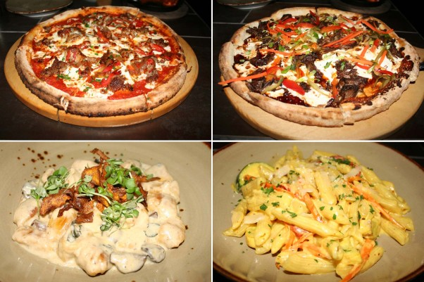 Lena's sausage and pepper pizza (clockwise from top left), Korean BBQ pizza, penne alla arlecchino and butternut squash ricotta gnocci are all house-made daily. (Photos: Mark Heckathorn/DC on Heels)