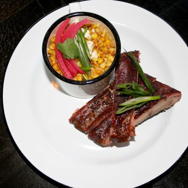 Dishes at Texas Jack's include St. Louis-style pork ribs and esquites, grilled corn-off-the-cob with mayo, Mexican cheese, cilantro and jalapeños. (Photo: Mark Heckathorn/DC on Heels)