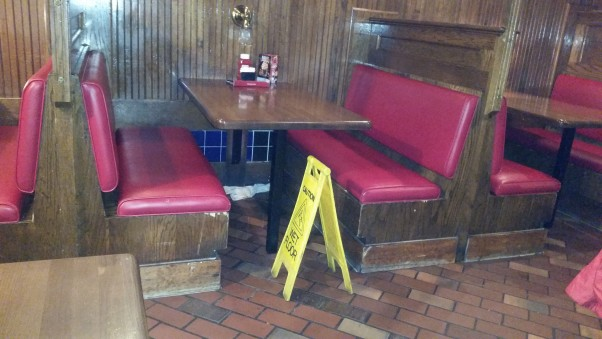 Water was leaking from the raised bar into booths. (Photo: Mark Heckathorn/DC on Heels)
