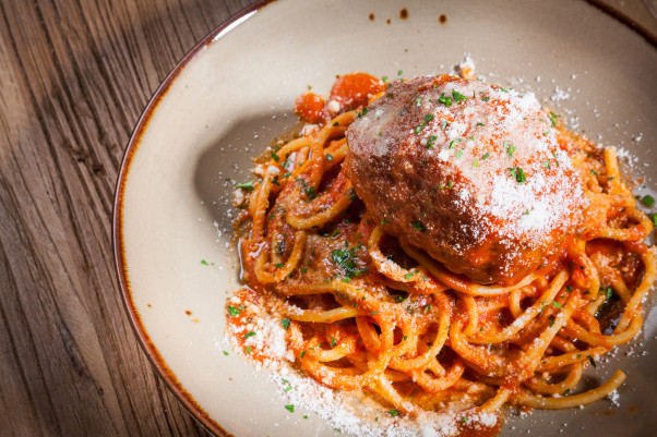 Lena's Wood-Fired Pizza & Tap is now offer double portions of its spaghetti and meatball with bread, salad and dessert to go. (Photo: Goran Kosanovic)
