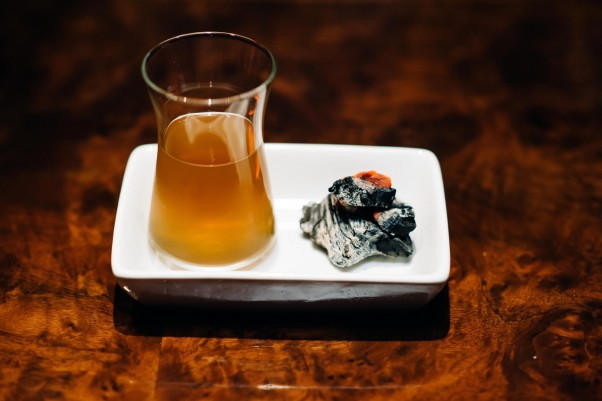 The Robert Frost Cocktail at the Columbia Room is made with  bourbon, amontillado sherry, white port, orange bitters, sugar maple charcoal filtered (Photo: Joy Asico)