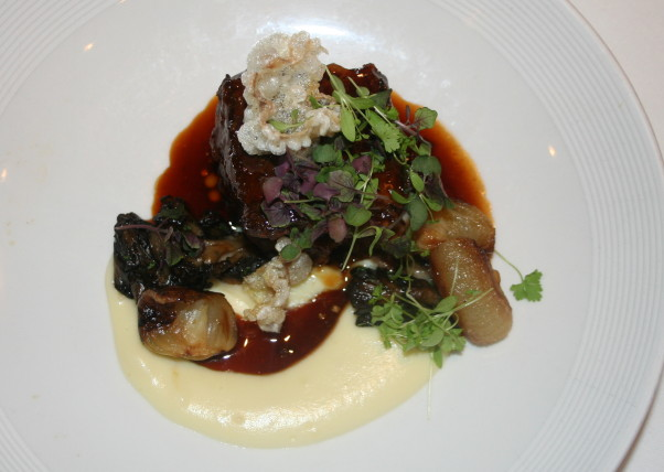 One of 1789 Restaurant's three entree choices is short ribs with pearl and Cipollini onions, oyster mushrooms, pomme puree and bordelasie. (Photo: Mark Heckathorn/DC on Heels)