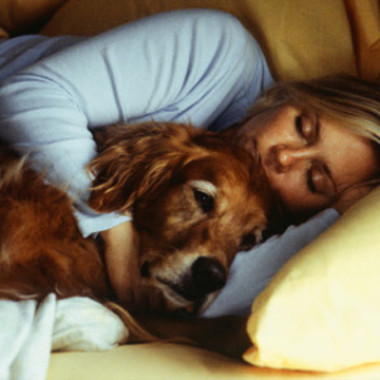 Doctors say it is safe to cuddle with your pet when you're sick if it makes you feel better. Pet's can't catch human diseases or transmit anything to you. (Photo: Thinkstock)