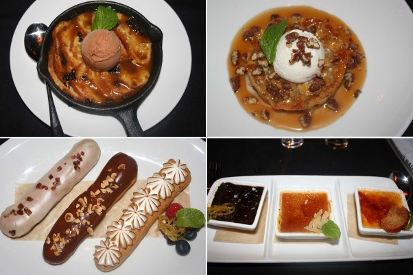 Dessert choices include (clockwise from top left) warm bread & butter pudding, spiced apple cake, trio of mini creme brulees and eclairs. (Photos: Mark Heckathorn/DC on Heels)