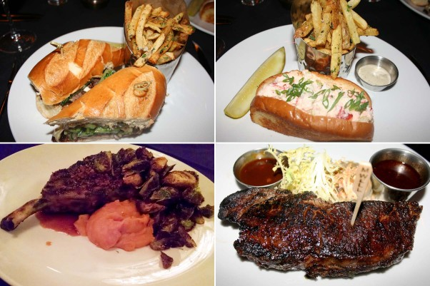 Lunch and dinner entree options include (clockwise from top left) the strip steak sandwich, lobster roll, N.Y. strip steak and Berkshire pork chop. (Photos: Mark Heckathorn/DC on Heels)