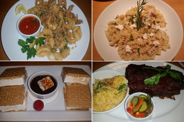 Despite poor service, most of the food was tasty: (clockwise from top left) fried calamari, chicken and goat cheese,  baby back ribs with mac and cheese, and s'mores. (Photos: Mark Heckathorn/DC on Heels)