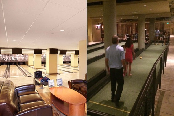 Enjoy a game of bowling or bocce (l to r) before or after dinner. (Photos: Jeff Elkins and Maha N./Yelp)