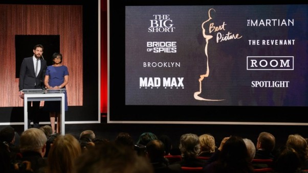 Actor John Krasinski from <em>The Office</em> and Academy of Motion Picture Arts and Sciences President Cheryl Boone Isaacs announce the nominees for best picture. (Photo: Academy of Motion Picture Arts and Sciences)