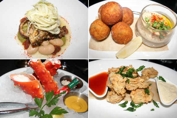 Pennsylvania 6 shines when it comes to seafood dishes. Pictured (clockwise from top left) are the charred Spanish octopus, the crab croquettes, the Louisiana fried oysters and the crab cocktail. (Photos: Mark Heckathorn/DC on Heels)