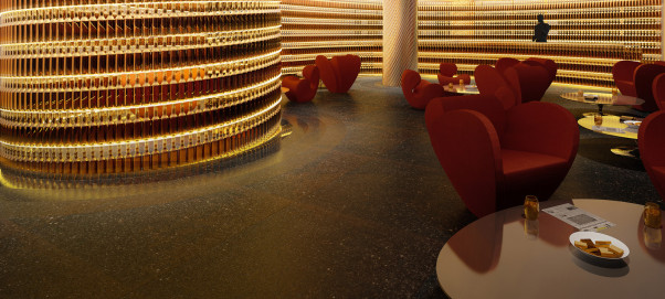The Next Whisky Bar features 2,500 whisky bottles on the wall. (Rendering: The Watergate Hotel)