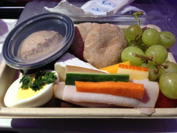 Virgin America's protein meal with  hummus, nuts and tuna is the best snack box. (Photo: Charles McGinnis)