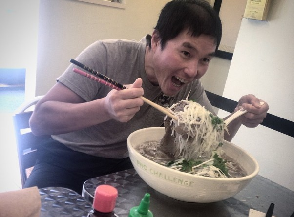 Wilson Hoo was the first person to conquer Sprig & Sprout's Pho Challenge. (Photo: Spring & Sprout/Facebook)