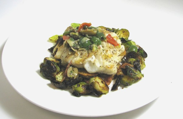 During March, three area Legal Sea Foods will serve Norwegian Skrei with green olives, Meyer lemon-artichoke relish, fingerling potatoes and Brussels sprouts with bacon for $27.95. (Photo: Legal Sea Foods)