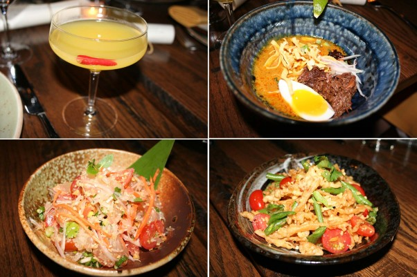 Mango Tree is introducing its spring menu. Joining its signature Spicy Siam cocktail (clockwise from top left) made with chili infused mango rum,  mango juice and a Thai chili are lunch entree khao soi and appetizers nam tok neur and yum som-o. (Photos: Mark Heckathorn/DC on Heels)