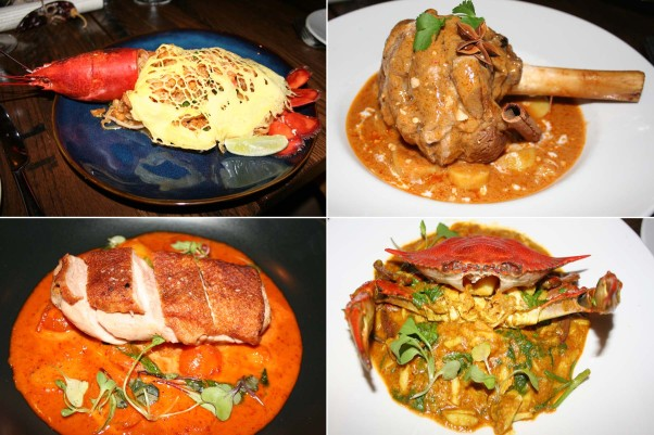 Mango Tree's signature lobster pad Thai (clockwise from top left) is staying along with returning massamun gae and new bhu phad pong ga ree and gang phed ped. (Photos: Mark Heckathorn/DC on Heels)