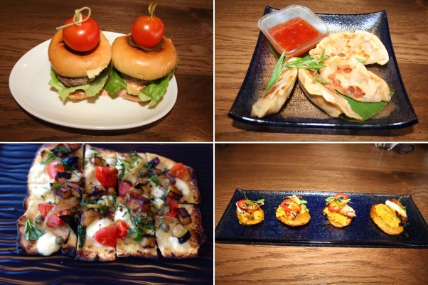 Small plates at Palette 22 include Jucy Lucy sliders (clockwise from top left), Singapore chili-crab potstickers, Peruvian-style grilled octoppus and a fried eggplant flatbread. IPhotos: Mark Heckathorn/DC on Heels)