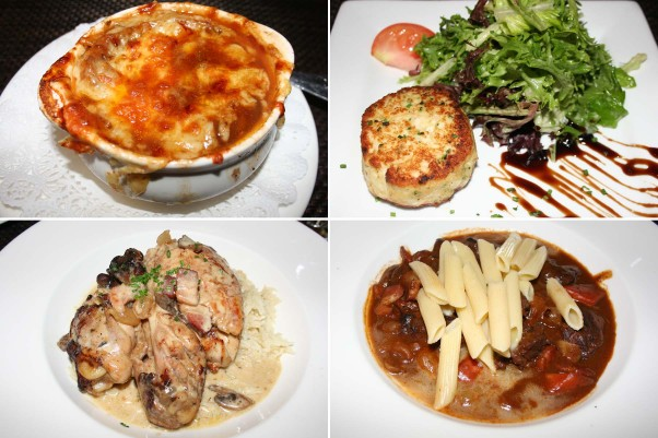 Dishes at Praline include onion soup gratinée (clockwise from top left)), a mixed greens salad with mini crab cake,  beef bourguignon with penne and poulet grand mere over rice. (Photos: Mark Heckathorn/DC on Heels)