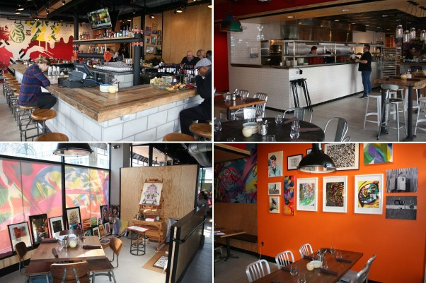 Palette 22 has a large bar area (clockwise from top left), open kitchen, dining room with art for sale and two artist stations. (Photos: Mark Heckathorn/DC on Heels)