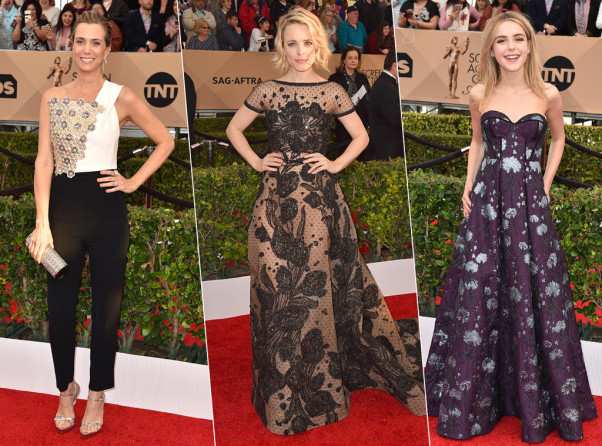 Kristen Wiig (left), Rachel McAdams and Kiernan Shipka chose floral prints for their SAG Awards gowns. (Photo: Jordan Strauss/Invision/AP)