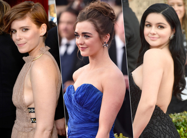 Kate Mara (left), Maisie Williams and Ariel Winter all walked the red carpet with some serious jewelry. (Photos: Getty Images and Jeff Kravitz/FilmMagic)