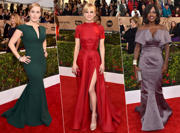 Kate Winslet (left), Anna Fais and Viola Davis all wore classic silhouettes. (Photos: Alberto E. Rodriguez/Getty Images and Jordan Strauss/Invision/AP)