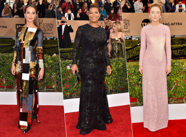 Alicia Vikander (left), Queen Latifah and Saoirse Ronan all chose to wear column dresses to Saturday's SAG Awards. (Photos: Jordan Strauss/Invision/AP and Jason Merritt/Getty Images)