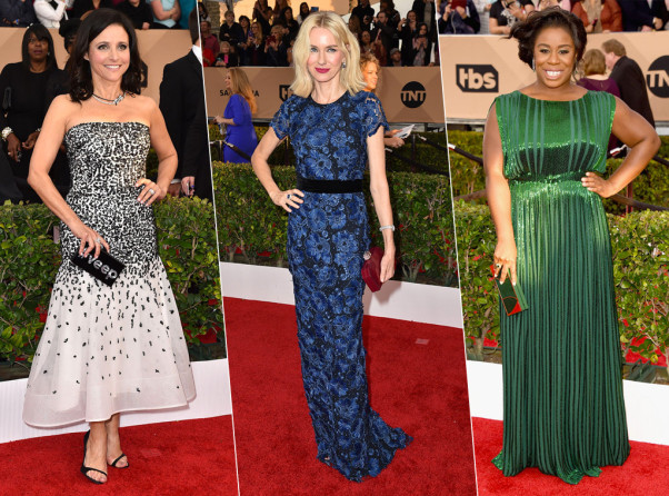Julia Louis-Dreyfus, Naomi Watts and Uzo Aduba all showed up clutching something major. (Photos: Jordan Strauss/Invision/AP and Jason Merritt/Getty Images)