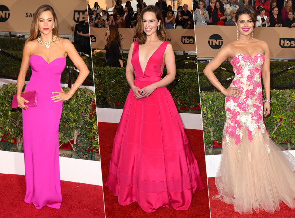 Sofia Vergara, Emilia Clark and Priyanka Chopra all wore fuchsia to the awards. (Photos: Jordan Strauss/Invision/AP and Getty Images)