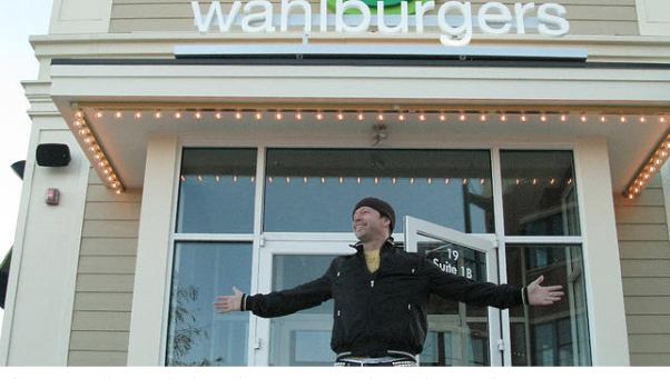 Actor Donnie Wahlberg in front of one of the burger joints he owns with his brothers. (Photo: Walburger)