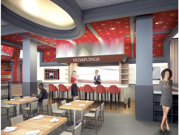 Bangkok Joe's is returing to its original Washington Harbour locating with its dumpling bar. (Rendering: Collective Architecture)