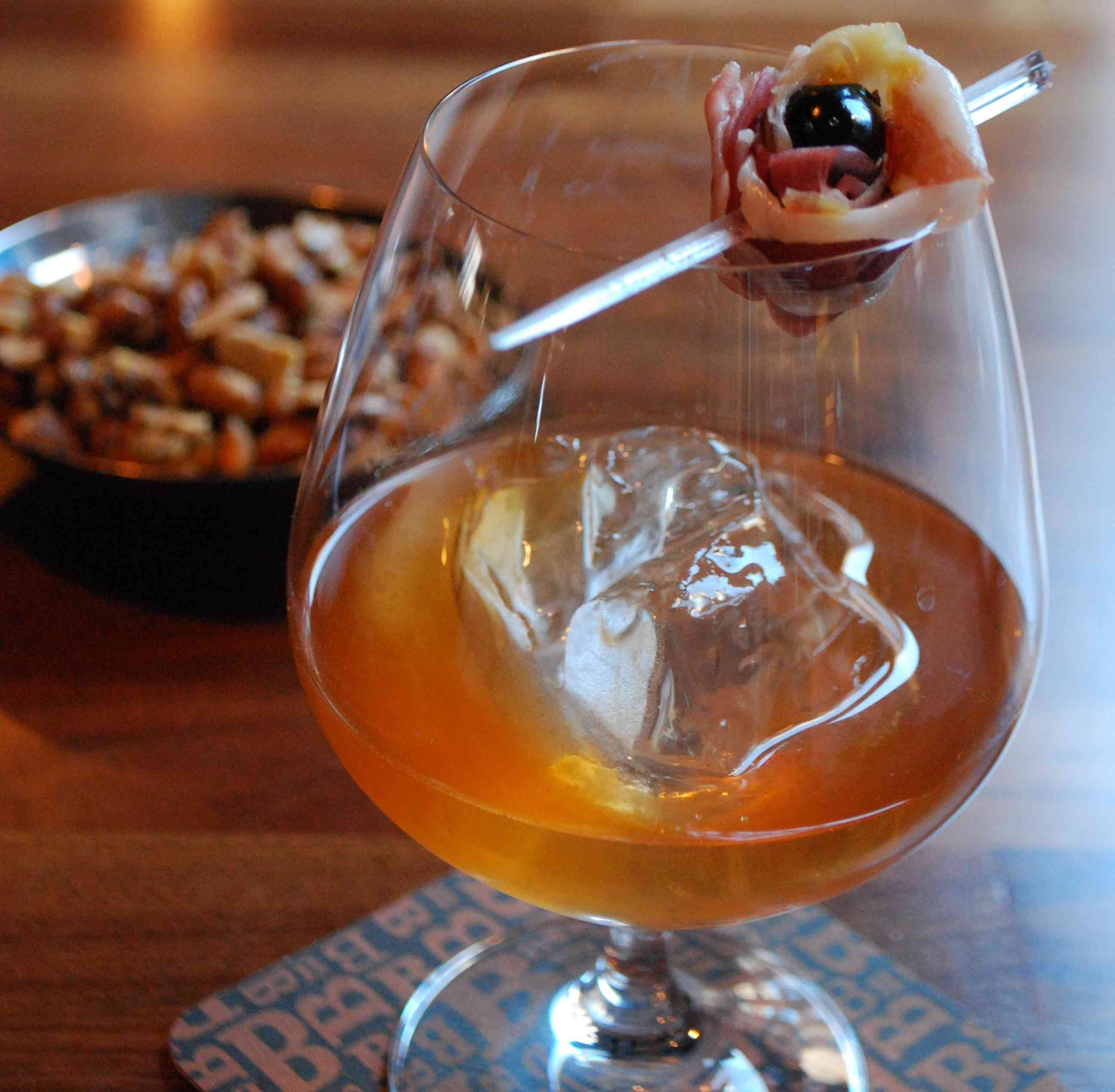 Bourbon Steak is offering a Bacon Blossom, bacon and cherry infused rye with cinnamon and Tobasco. (Photo: Bourbon Steak)