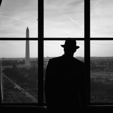 """Monument Watcher at Dusk"" taken by photographer Bridget Murray Law is one of the winning photographs selected for the Exposed D.C. photography exhibit now on display at Carnegie Library. (Photo: Bridget Murray Law)"