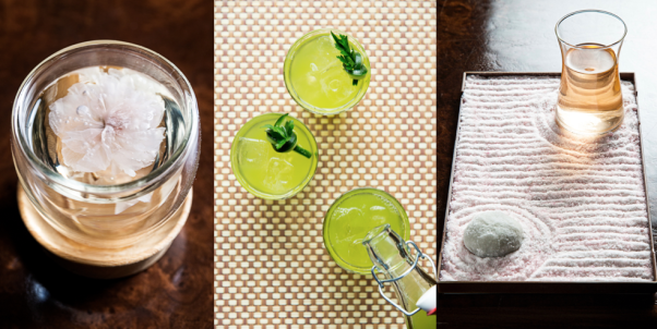 The Columbia Room's new spring cocktails include the Cherry Blossom Tea (l to r), An Early Morning Swim in Puerto Vallarta and the I Never Promised You a Zen Garden. (Photos: Scott Suchman)