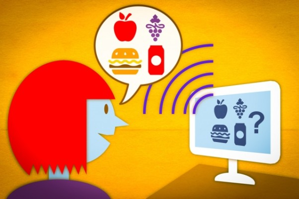 A prototype of a new speech-controlled nutrition-logging system allows users to verbally describe the contents of a meal. The system then parses the description and automatically retrieves the pertinent nutritional data. (Illustration: Jose-Luis Olivares/MIT)