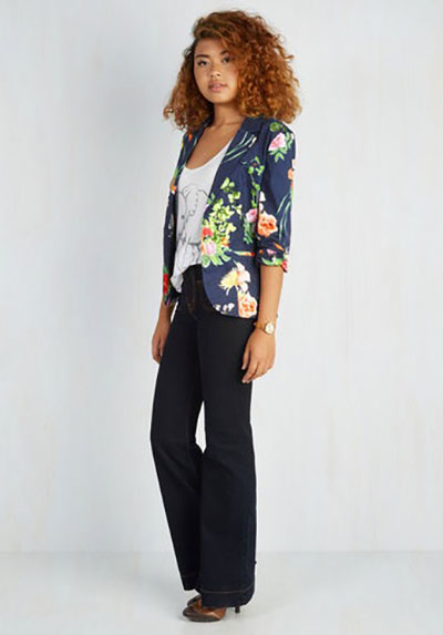 A floral blazer can liven up a plain outfit of t-shirt and jeans, go over a solid-colored dress or be mixed in with a pencil skirt and blouse for work. (Photo: ModCloth
