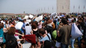 International Pillow Fight Day returns to the National Mall at 3 p.m. Saturday. (Photo: Capitol Improv)